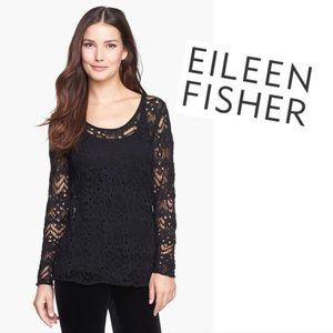 Eileen Fisher Lace Stitch Wool Top XS